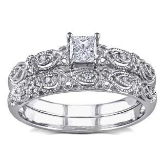 Miadora 10k White Gold 1/3ct TDW Diamond Vintage Bridal Engagement Ring Stackable Set|https://ak1.ostkcdn.com/images/products/P16292434q.jpg?impolicy=medium