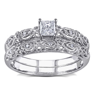 Miadora 10k White Gold 1/3ct TDW Diamond Vintage Bridal Engagement Ring Stackable Set