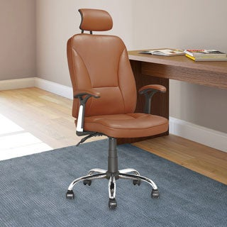 Executive Reclining Office Chair in Light Brown Leatherette