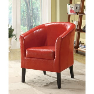 Linon Andrew Barrel Club Chair Hot Red Upholstery