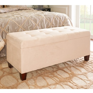 Linon Yolanda Beige Tufted Flip-Top Ottoman with Shoe Storage