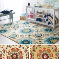 Hand-hooked Natalie Contemporary Floral Indoor/ Outdoor Area Rug (3'3 x 5'3) - 3'3 x 5'3