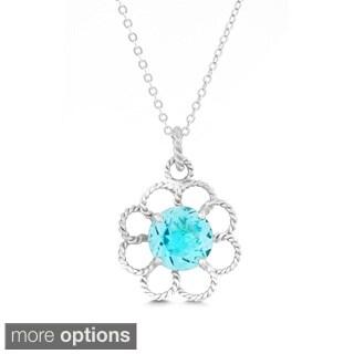 La Preciosa Sterling Silver Amethyst, Blue Topaz, Citrine Flower Pendant Necklace