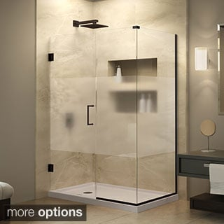 DreamLine Unidoor Plus 32 in. W x 30.375 in. D x 72 in. H Half Frosted Hinged Glass Door Shower Enclosure