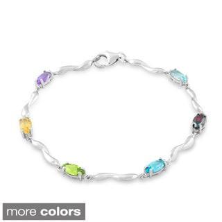La Preciosa Sterling Silver Marquise Gemstone Link Bracelet