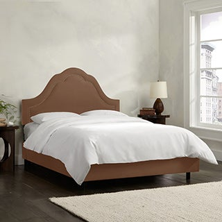 Skyline Furniture Arch Inset Nail Button Bed in Micro-Suede Chocolate