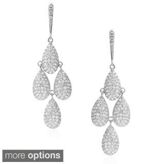 Journee Collection Brass Cubic Zirconia Chandelier Earrings