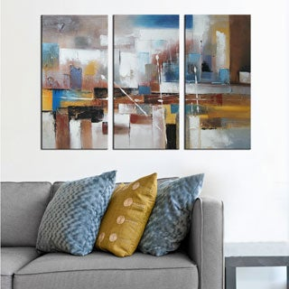 Hand-painted 'Abstract 501' 3-piece Gallery-wrapped Canvas Art Set