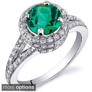Oravo Sterling Silver Round-cut Gemstone and Cubic Zirconia Rhodium Finished Ring