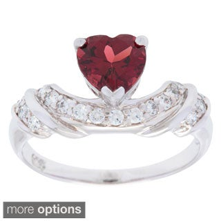 Oravo Sterling Silver Heart-cut Gemstone and Cubic Zirconia Ring