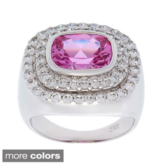 Oravo Sterling Silver Radiant Cushion-cut Gemstone and Cubic Zirconia Halo Ring