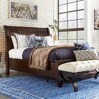 Elliot Distressed Warm Brown 2-drawer Wood Sleigh Bed by iNSPIRE Q Classic