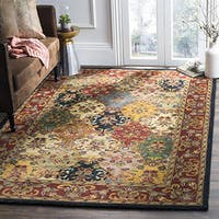 Safavieh Handmade Heritage Timeless Traditional Multicolor/ Burgundy Wool Rug - 4' Square