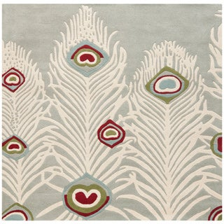 Safavieh Hand-Tufted Soho Grey/ Ivory Wool/ Viscose Rug (8' Square)