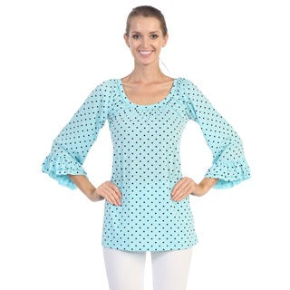 Hadari Women's Blue Polka-dotted Butterfly Sleeve Top