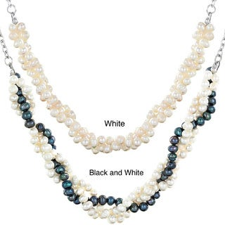 ELYA Stainless Steel Freshwater Pearl Braided Necklace (4-5 mm)