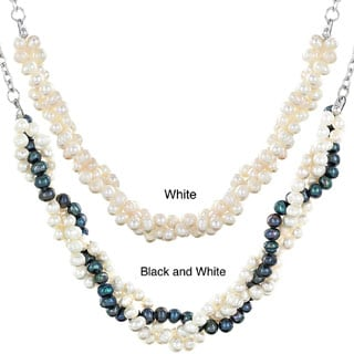 ELYA Stainless Steel Freshwater Pearl Braided Necklace (4-5 mm)