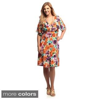 24/7 Comfort Apparel Women's Plus Size Multi-print Tie-Back Dress