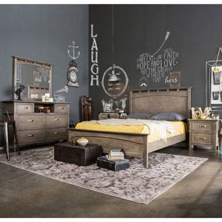 rustic bedroom furniture sets. Furniture of America Seashore 4 piece Weathered Oak Bed Set Rustic Bedroom Sets For Less  Overstock com
