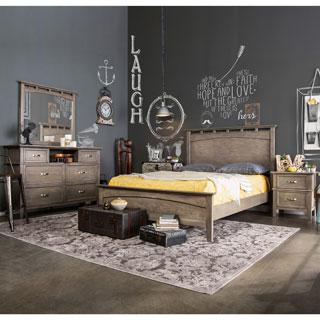 Furniture Of America Seashore 4 Piece Weathered Oak Bed Set