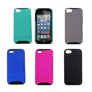Hybrid Dual Layer Case with Credit Card Holder for Apple iPhone 5 and 5S