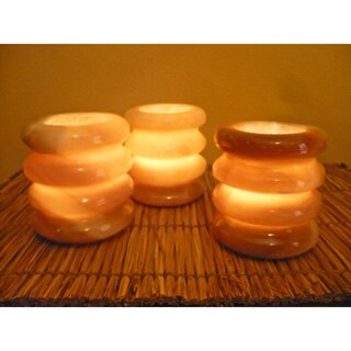 3-piece Handmade Egyptian Alabaster Rings Candle Holder Set (Egypt)