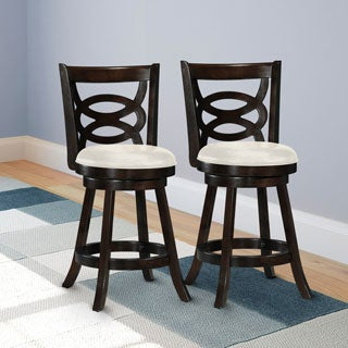 CorLiving Woodgrove Cappuccino and White Leatherette Counter Height Barstool (Set of 2)