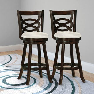CorLiving Wooden Barstool with White Leatherette Seat (Set of 2)