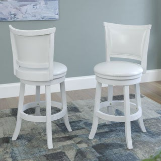 CorLiving White Wash Counter Barstool with Leatherette Seat (Set of 2)
