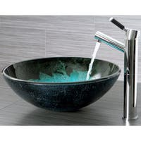 Kingston Brass Turquoise and Black Glass Vessel Bathroom Sink