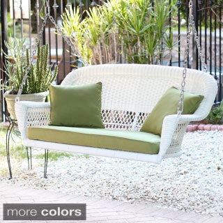 White Resin Wicker Porch Swing with Cushions