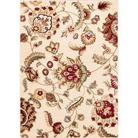 "Well Woven Oriental Floral Ivory Area Rug - 9'3"" x 12'6"""