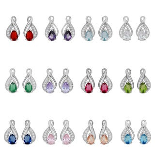 Fremada Rhodium Plated Sterling Silver Cubic Zirconia Birthstone Infinity Earrings