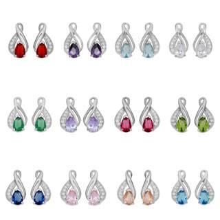 Fremada Rhodium Plated Sterling Silver Cubic Zirconia Birthstone Infinity Earrings|https://ak1.ostkcdn.com/images/products/P16362600.jpg?impolicy=medium