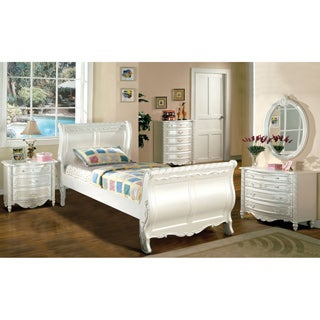 Furniture of America Mystical Reign Pearl White 4-piece Bedroom Set