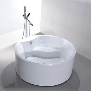 Freestanding 59-inch Round White Acrylic Bathtub