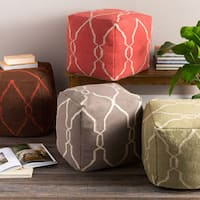 Mila Lattice Hand-crafted Wool/Cotton 18-inch Square Pouf