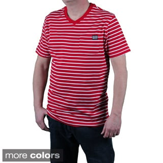 MO7 Men's Slim Fit Striped V-neck Pocket Tee
