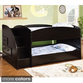furniture of america krasila classic twin over twin bunk bed with storage