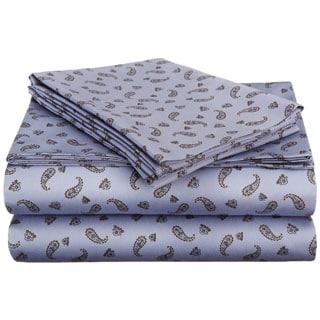 Superior Crestwood Cotton 300 Thread Count Blue Paisley Sheet Set
