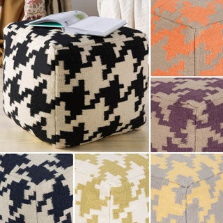 Hand Crafted Tuscaloosa Houndstooth 18-inch Square Pouf
