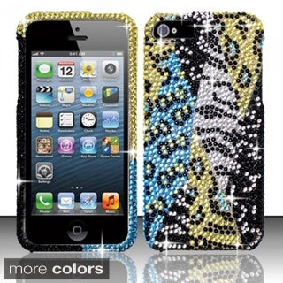 INSTEN Diamond Beads Shinny Leopard Zebra Hard Plastic Phone Case Cover for Apple iPhone 5/ 5S/ SE