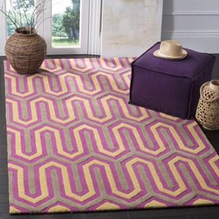 Safavieh Handmade Moroccan Cambridge Fuchsia/ Grey Wool Rug (5' x 8')
