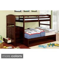 Furniture of America Redenell White/Expresso Bunk Bed with Built-in Storage and Ladder