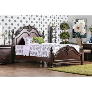 Furniture of America Bastillina English Style Cherry Four Post Bed