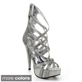 Ellie Women's '532-Julia' Rhinestone Metallic Ankle Heels