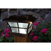 Prestige Copper-plated Solar LED 4-inch x 4-inch Post Cap (Set of 2)