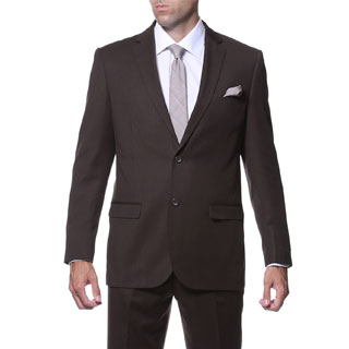 Ferrecci Men's Slim Fit Dark Brown Striped Tone on Tone 2-piece Suit