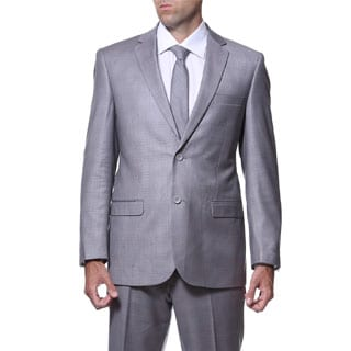 Ferrecci Men's 'Lincoln' Slim Fit Grey Plaid Tone on Tone 2-piece Suit