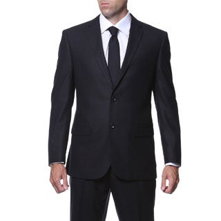 Ferrecci Men's Slim Fit Black Plaid Tone on Tone 2-piece Suit